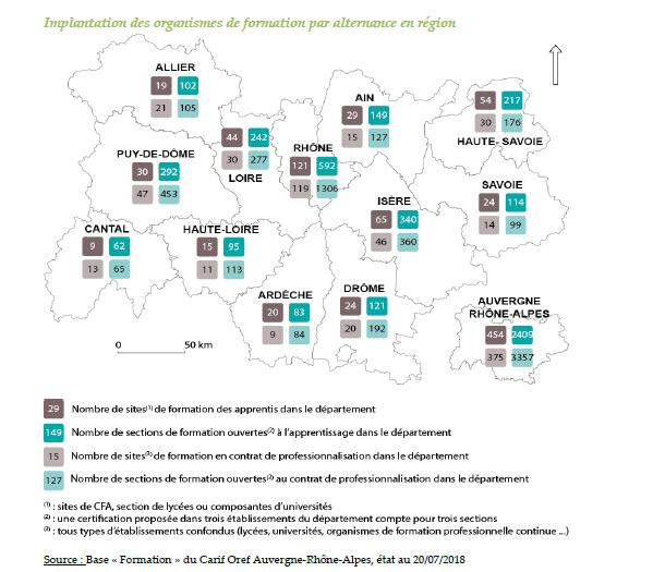 Implantation des organismes de formation par alternance en région